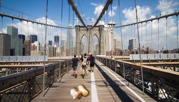Pedestrians on Brooklyn Bridge